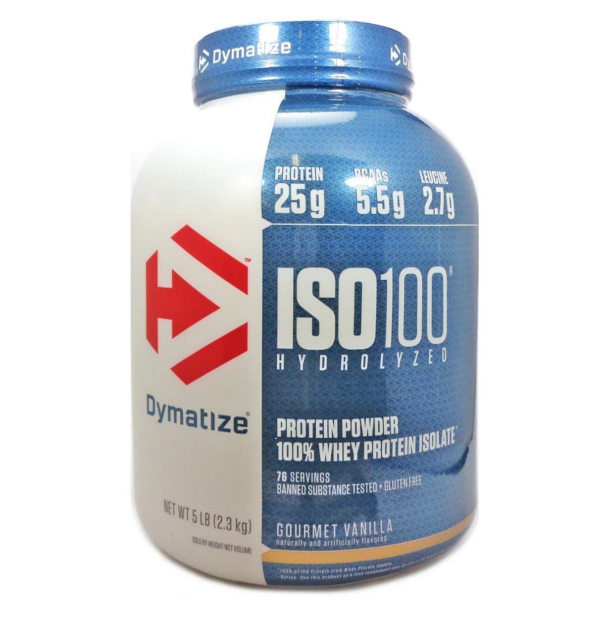 Dymatize ISO 100 Hydrolyzed Whey Protein Powder Isolate, Gourmet Vanilla, 5 Pound