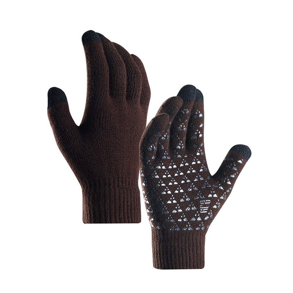 yanbirdfx 1 Pair Winter Cycling Full Finger Knitted Warm Men Women Touch Screen Gloves - Men Coffee