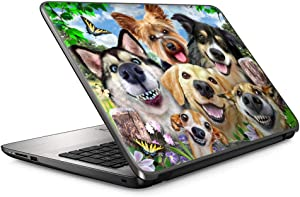Selfie Dog Delight - 15 inches 15.6 inches Custom Fit Made to Order Laptop Notebook Skin Vinyl Sticker Cover Decal Fits HP Lenovo Apple Mac Dell Compaq Asus Acer