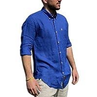 TIPO'S Camicia Uomo Puro Lino Made in Italy Manica Lunga TG. M, L, XL, XXL, XXXL Primavera/Estate 2018