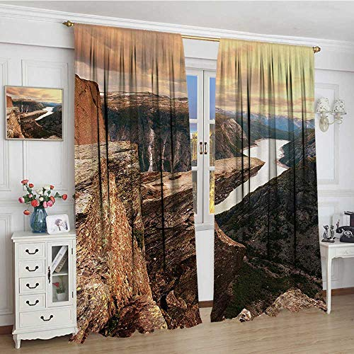 (smallbeefly Mountain Blackout Window Curtain Nothern Mountains Canyon Landscape with Calm River in Norway Scenic Nature Tops Patterned Drape for Glass Door 96