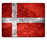 Liili Mouse Pad Natural Rubber Mousepads flag of Denmark or Danish banner on vintage metal texture 29483783