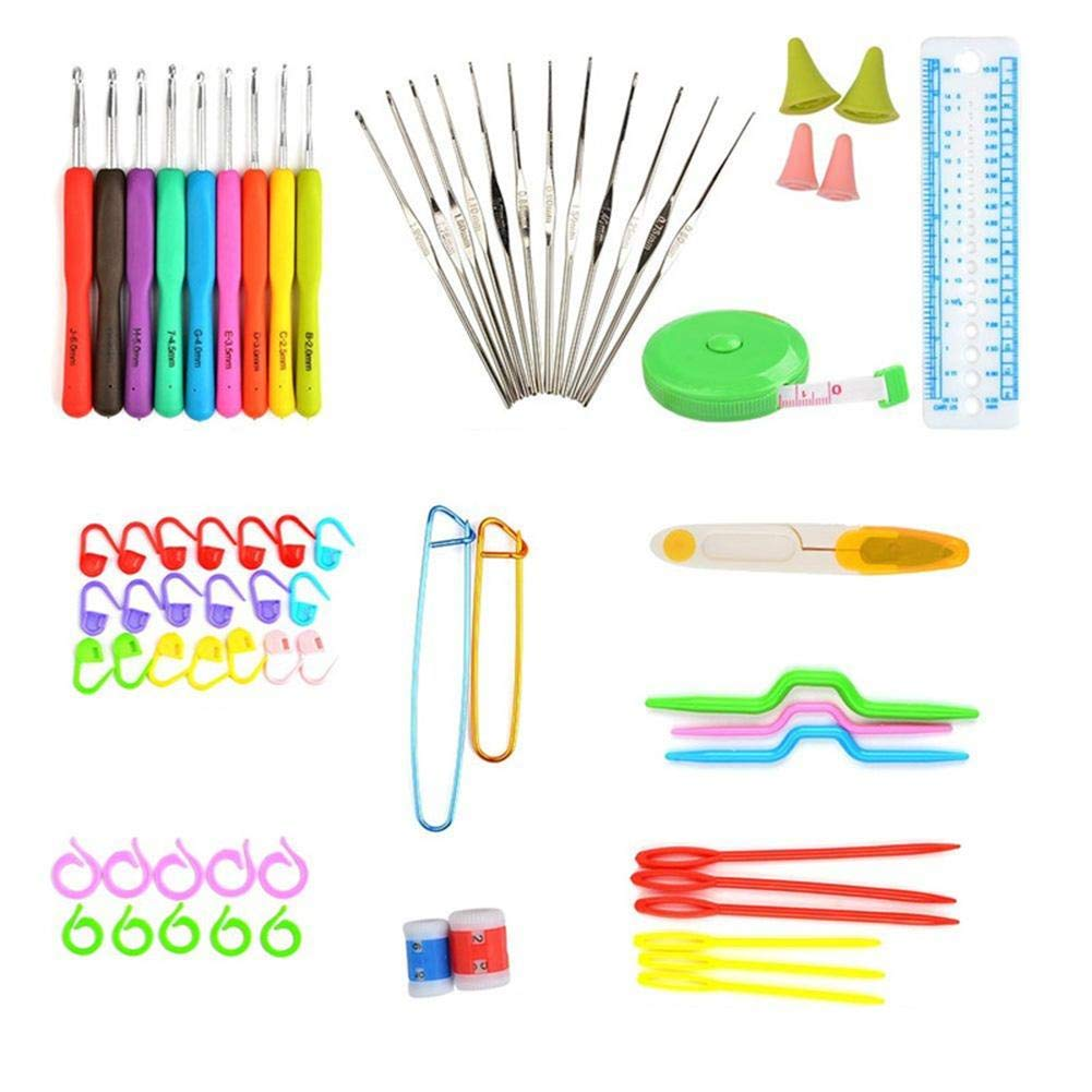 72pcs Aluminum Crochet Hooks Knit Weave Craft Sweater Sewing Needles Set
