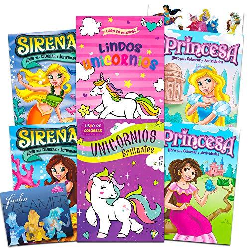 Spanish Princess, Unicorns, and Mermaids 6-Piece Coloring Book Set with Bonus Disney Princess Stickers ~ Libro de Colorear de 6 Piezas de Princesa, Unicornios, y Sirenas con Calcomanias de Princesa