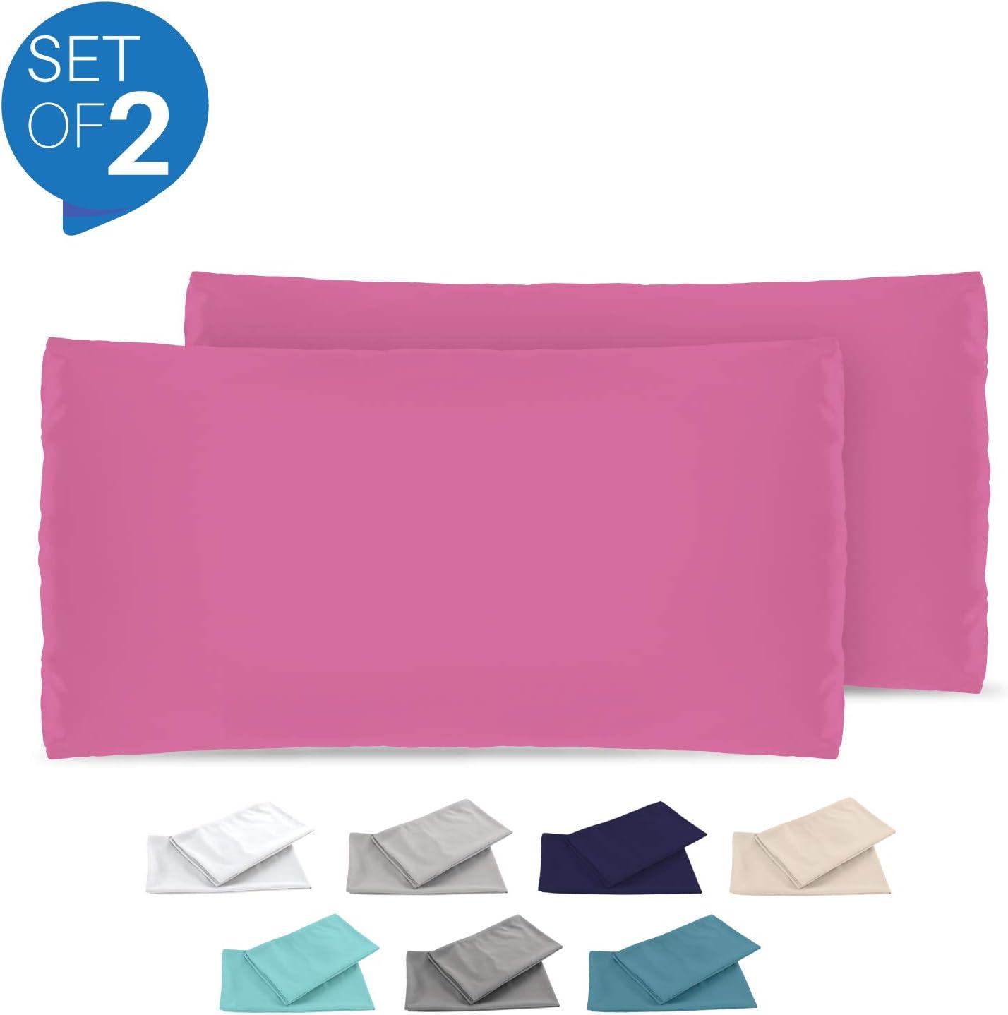 Dreamzie - Set de 2 x Funda de Almohada 40x80 cm, Rosa, Microfibra (100% Poliéster) - Fundas de Almohadas Hipoalergénica - Fundas de Cojines de Calidad con una Suavidad Incomparable