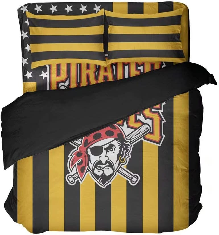 Pittsburgh Simple Graphic with Yellow and Black Stripes Sports Duvet Cover Sets Comfortable Baseball Bedding Sheets 2 Pillowcases 4 Pieces(King 4pcs)