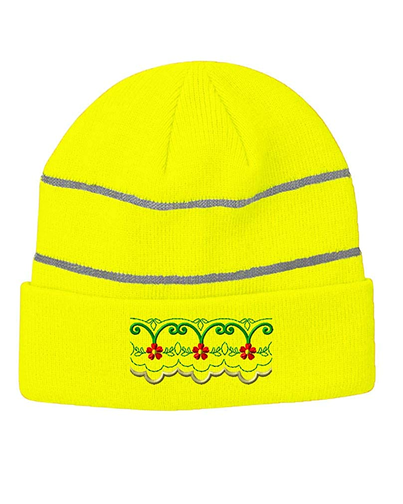 Speedy Pros ERR:520 Unisex Adult Acrylic Reflective Stripes Beanie Winter Hat One Size Neon Yellow
