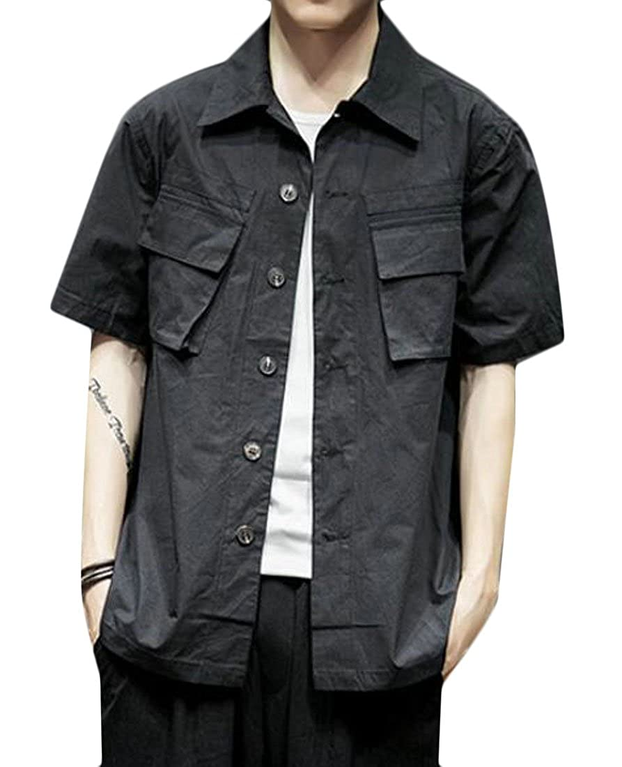Fubotevic Men Relaxed Fit Short Sleeve Casual Button up Utility Cargo Shirt
