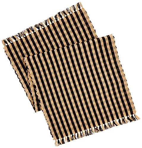 Home Collection by Raghu Heritage House Check Table Runner, 14 by 36-Inch, Black/Nutmeg