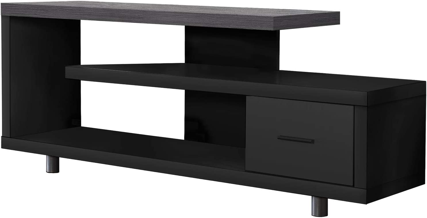 Monarch Specialties I STAND-60 L Grey TOP with 1 Drawer TV STAND, Black