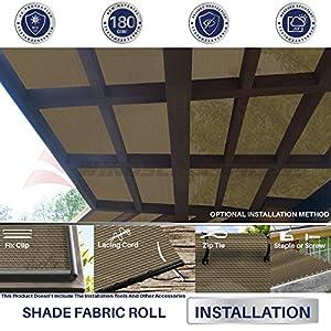 Windscreen4less Brown Sunblock Shade Cloth,95% UV Block Shade Fabric Roll 6ft x 50ft