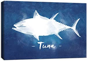 NWT Canvas Wall Art Abstract Tuna Fish Painting Artwork for Home Decor Framed 24x36 inches