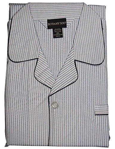 Botony 500 - Mens Big and Tall Long Sleeve Broadcloth Striped Pajama, Light Blue 37475-XX-Large