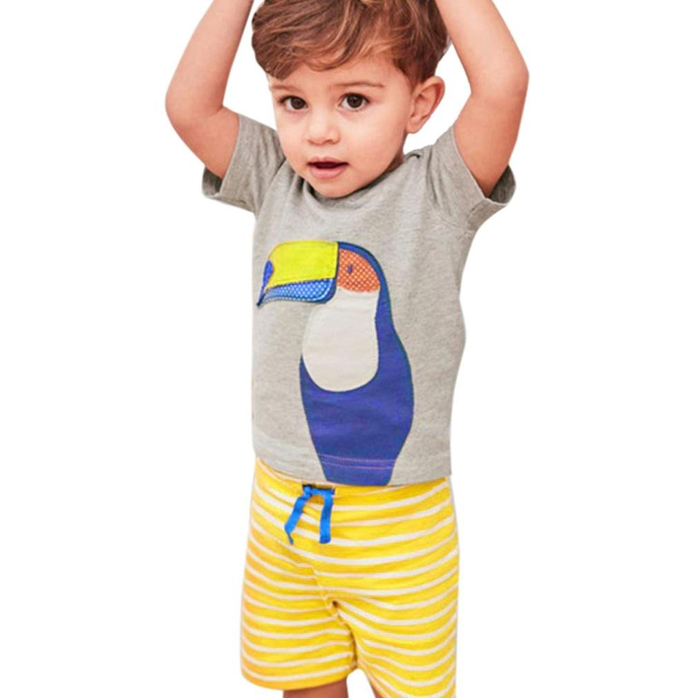 DIGOOD For 0-4 Years Old,Toddler Baby Boys Cartoon Print T-Shirt+Striped Pants,Summer Kids 2Pcs Outfits Clothes Sets
