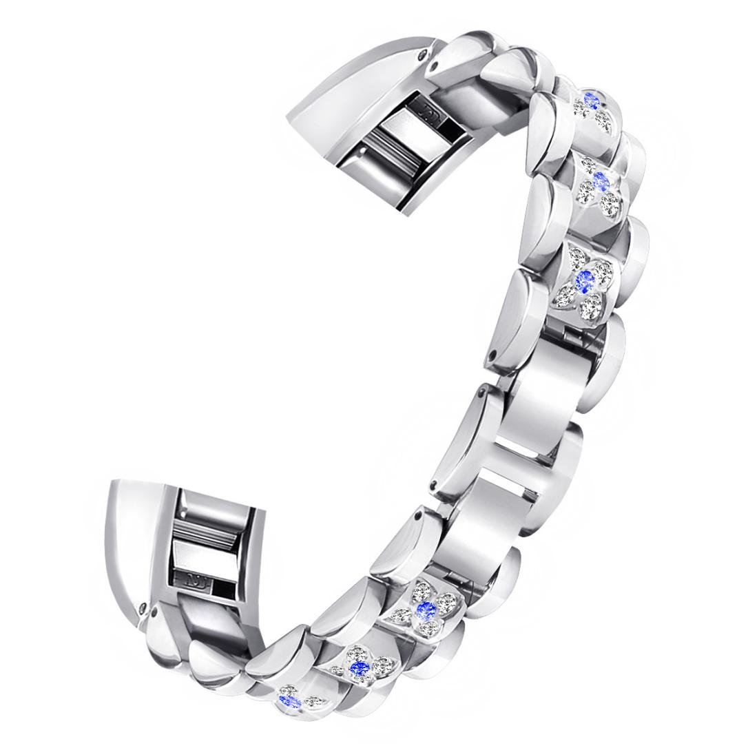 HighlifeS Replacement Small Metal Crystal Watch Band Wrist strap For Fitbit Alta HR/Alta (White)