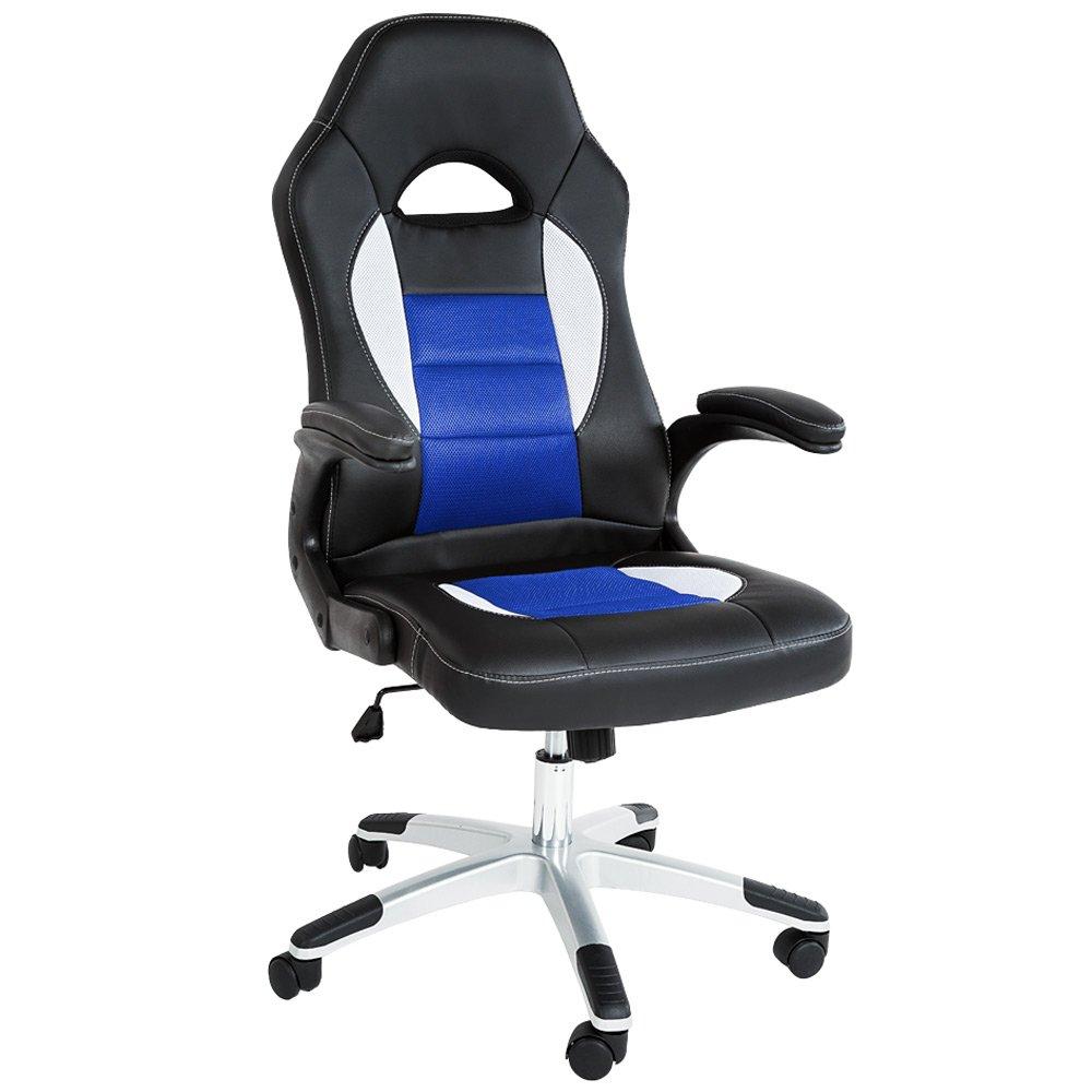 TecTake Silla de escritorio de oficina, Racing - disponible en diferentes colores - (Negro-Azul | No. 401417): Amazon.es: Hogar