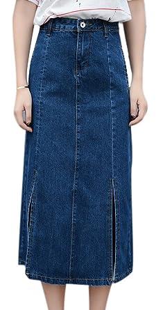 a625952b66 Women's A-Line Denim Loose Maxi Skirt Split Dark Blue Jeans Skirts  Oversized 31 Blue