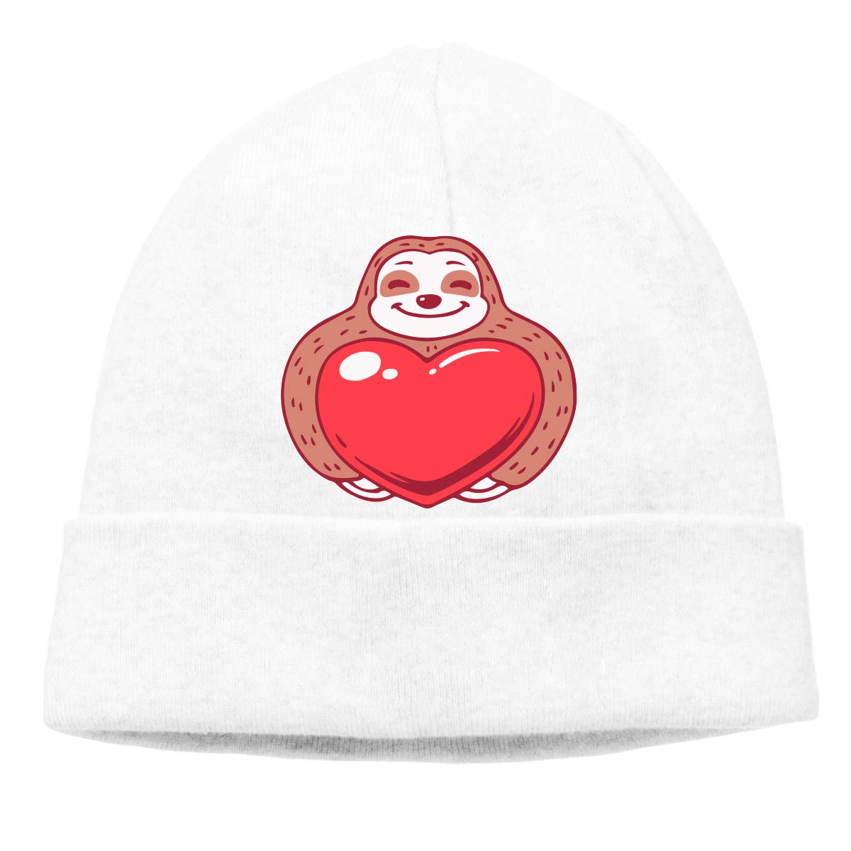 Men//Women Sloth Holding Red Heart Outdoor Wool Beanies Hat Soft Winter Knit Caps