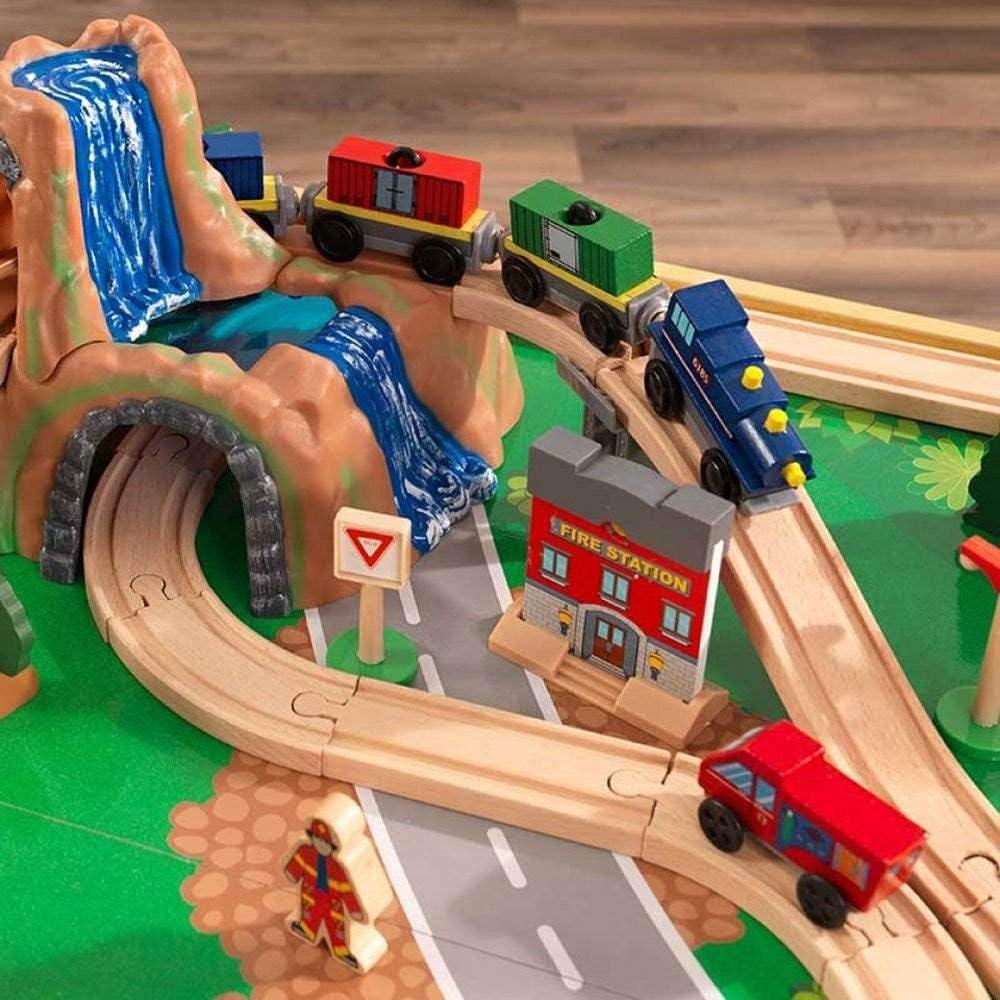 Nat/ürlich KidKraft 18025 Adventure Town Eisenbahnspielset /& Tisch mit EZ Kraft Assembly Bahngleis-Set und Tisch aus Holz
