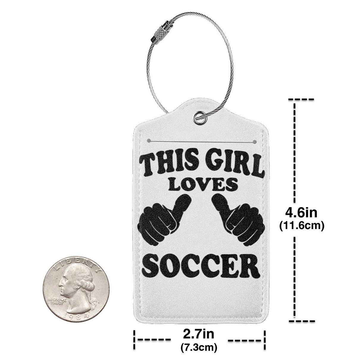 This Girl Loves Soccer Travel Luggage Tags With Full Privacy Cover Leather Case And Stainless Steel Loop