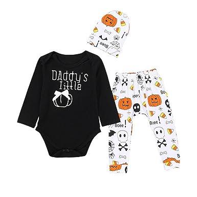8e315bda 3PCS Halloween Kids Baby Letter Print Romper+Cartoon Print Pants+Hat Set  Outfit Set