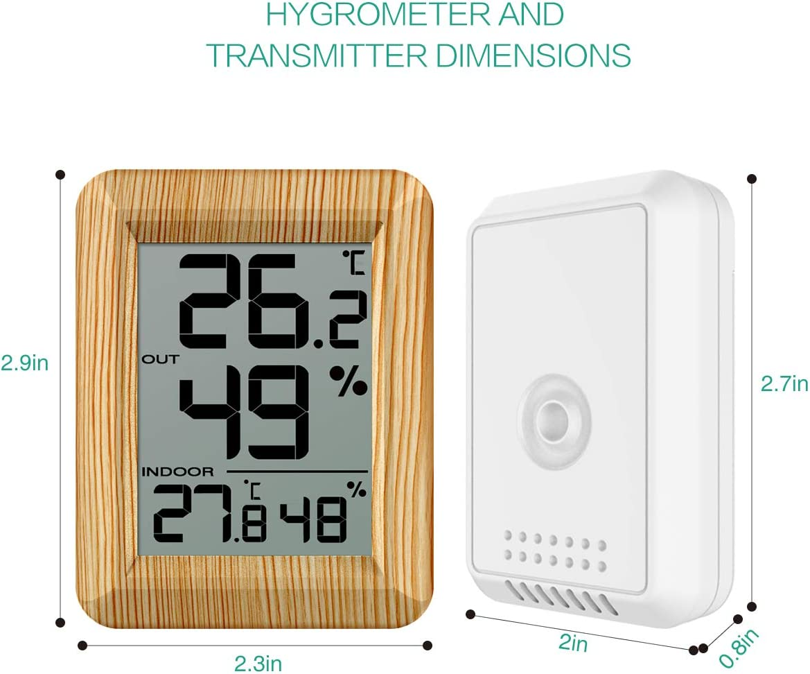 LCD Screen Thermometer Humidity Monitor Home ORIA Digital Hygrometer Thermometer Indoor and Outdoor for Warehouse Office Battery Not Included Temperature Humidity Gauge Meter Brown