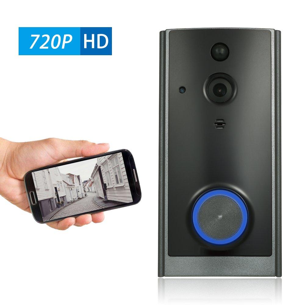 OWSOO Visuelle Gegensprechanlage 720P Wifi 2-Wege Audio Video Türklingel Unterstützung Infrarot Nachtsicht PIR Android IOS App Fernbedienung für Tür Eintrag Zugangskontrolle