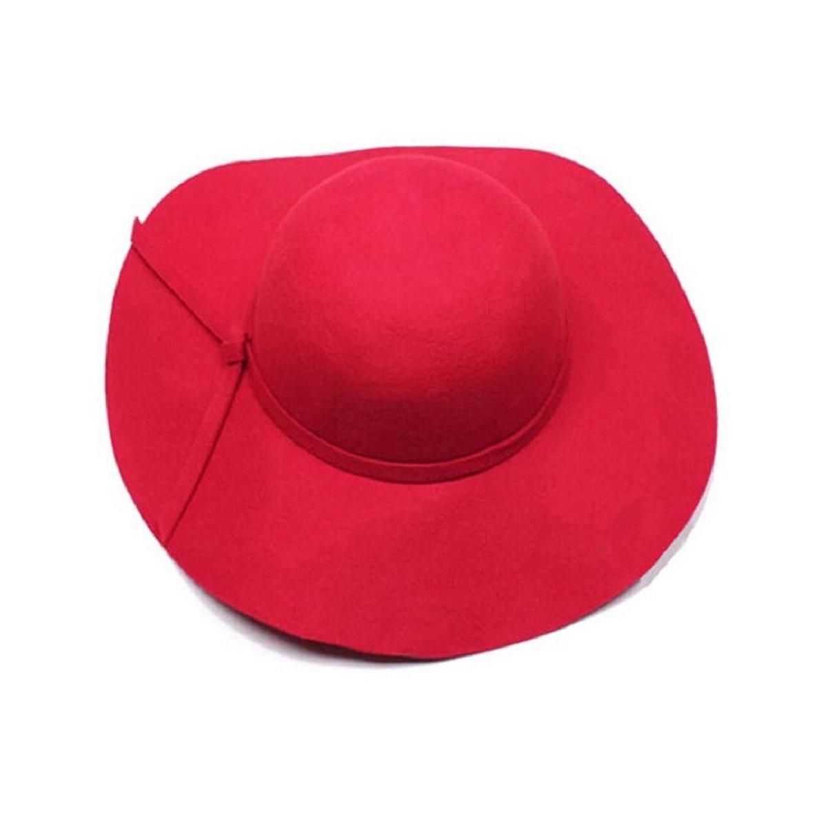 Doinshop Women Girls Lovely Wool Wide Brim Felt Bowler Fedora Hat Lady Floppy Cloche