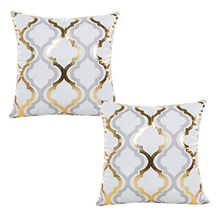 Amazon WOMHOPE 40 Pcs 40 Geometry Gold Hot Stamping Super Stunning Grey And Gold Decorative Pillows