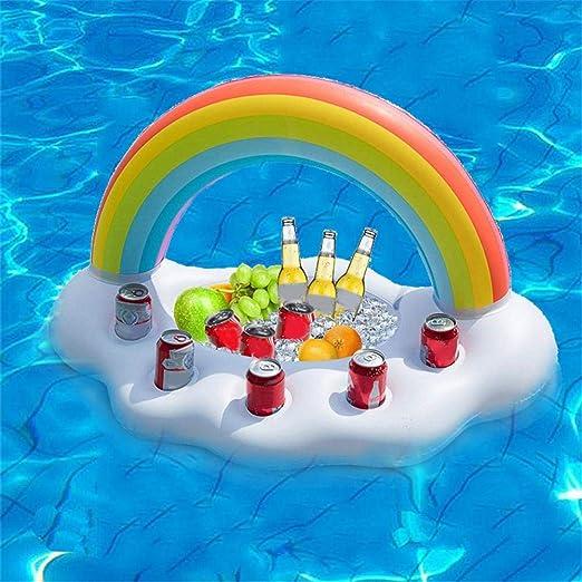 Soporte para Bebidas Rainbow Cloud Inflable Barra de Servicio de Bebidas y Bebidas Bebidas flotantes Ensalada de Frutas Bar para la Piscina en la Playa SPA: Amazon.es: Hogar