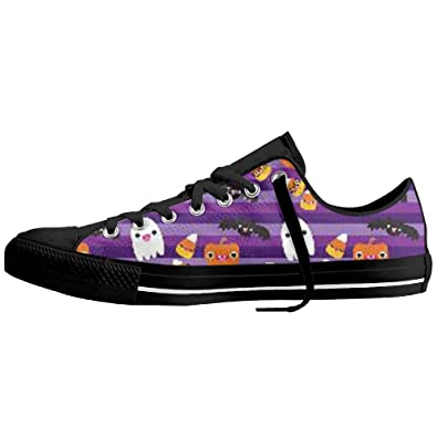 Tide Shoe House Halloween Cat And Ghost Wallpaper Classic Fashion Sneakers Shoes Canvas