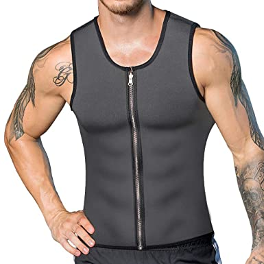 197be4aed25 Amazon.com  XYYG Men Sweat Waist Trainer Tank Top Vest Weight Loss Neoprene  Workout Shirt Sauna  Clothing