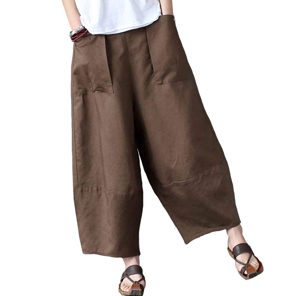 Aeneontrue Women's Casual Linen Wide Leg Pants Trousers with Elastic Waist Brown X-Large