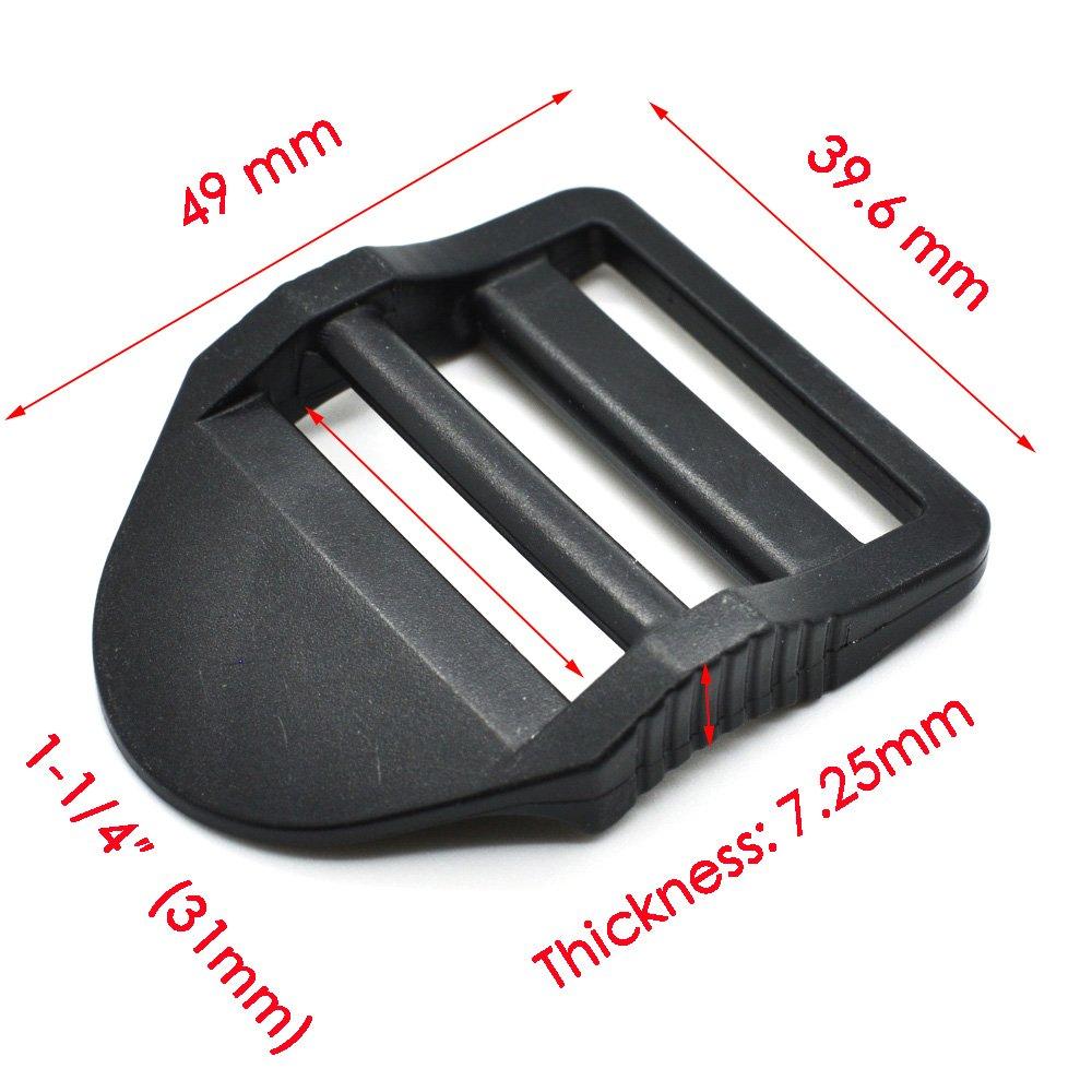 12pcs Plastic Ladder Lock Slider Buckle for Backpack Straps Black Webbing Size 20mm