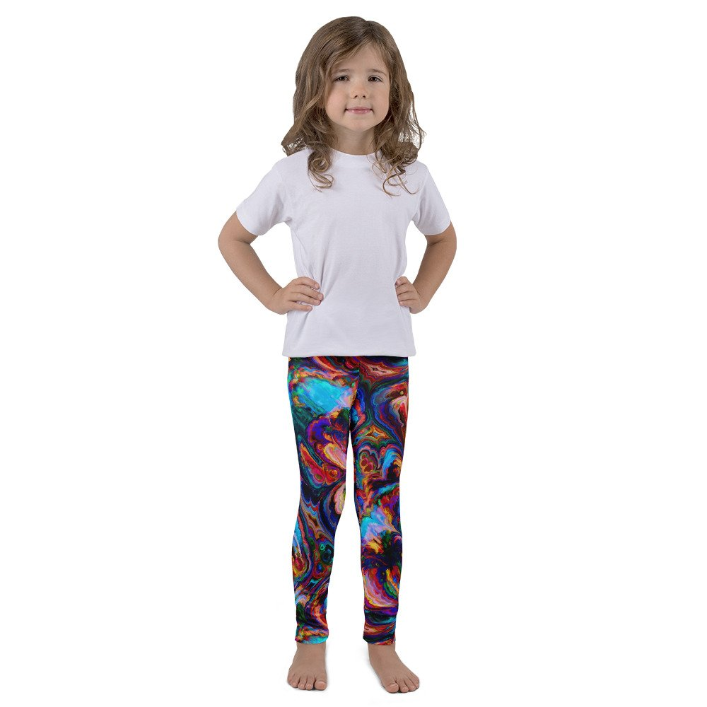 Wild Kid Designs Kids Leggings Abstract Paint Swirl Pattern Stretchy Patterned Polyester Spandex Tights