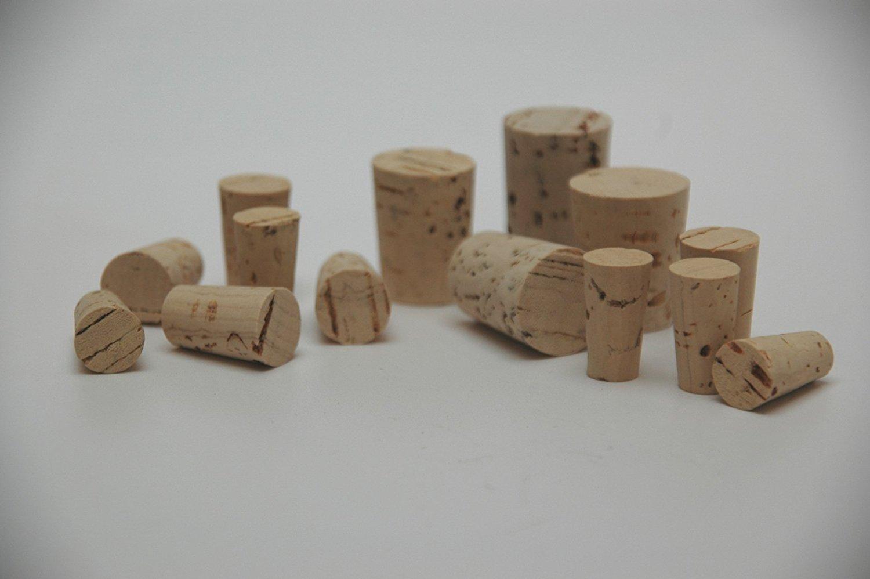 100 Stück Korken für Reagenzgläser, Spitzkorken 33 mm x 21/18 mm aus Natur Kork - Medizinkorken, Laborkorken, Flaschenkorken, konische Korken für Weinflaschen Iberia