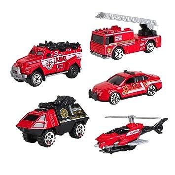SunQ 5 Pedazos Camiones de Bomberos Maqueta Camion Vehículos ...