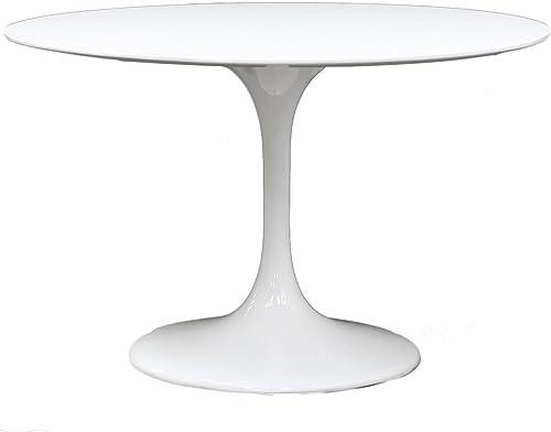 Modway Lippa Mid-Century Modern 40 Round Fiberglass Dining Table in White
