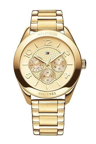 Reloj para mujer Tommy Hilfiger 1781214, mecanismo de cuarzo, diseño con varias esferas, correa chapada en oro.: Amazon.es: Relojes