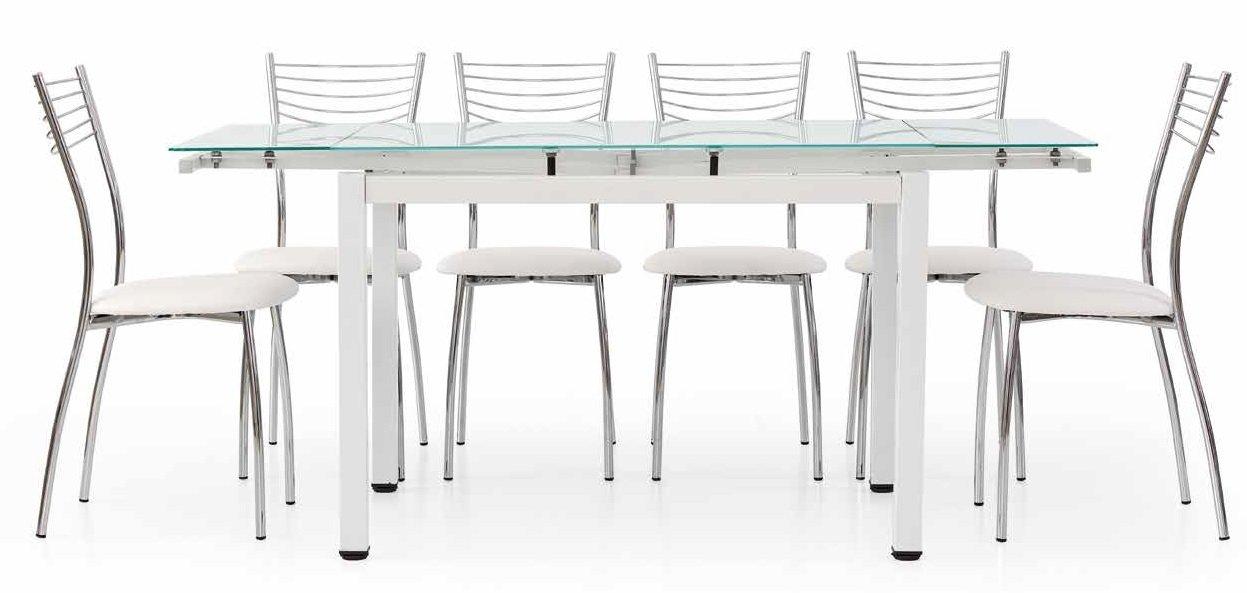 Bianco 110 x 70 x 76 cm Metallo Fashion Commerce FC608V Tavolo