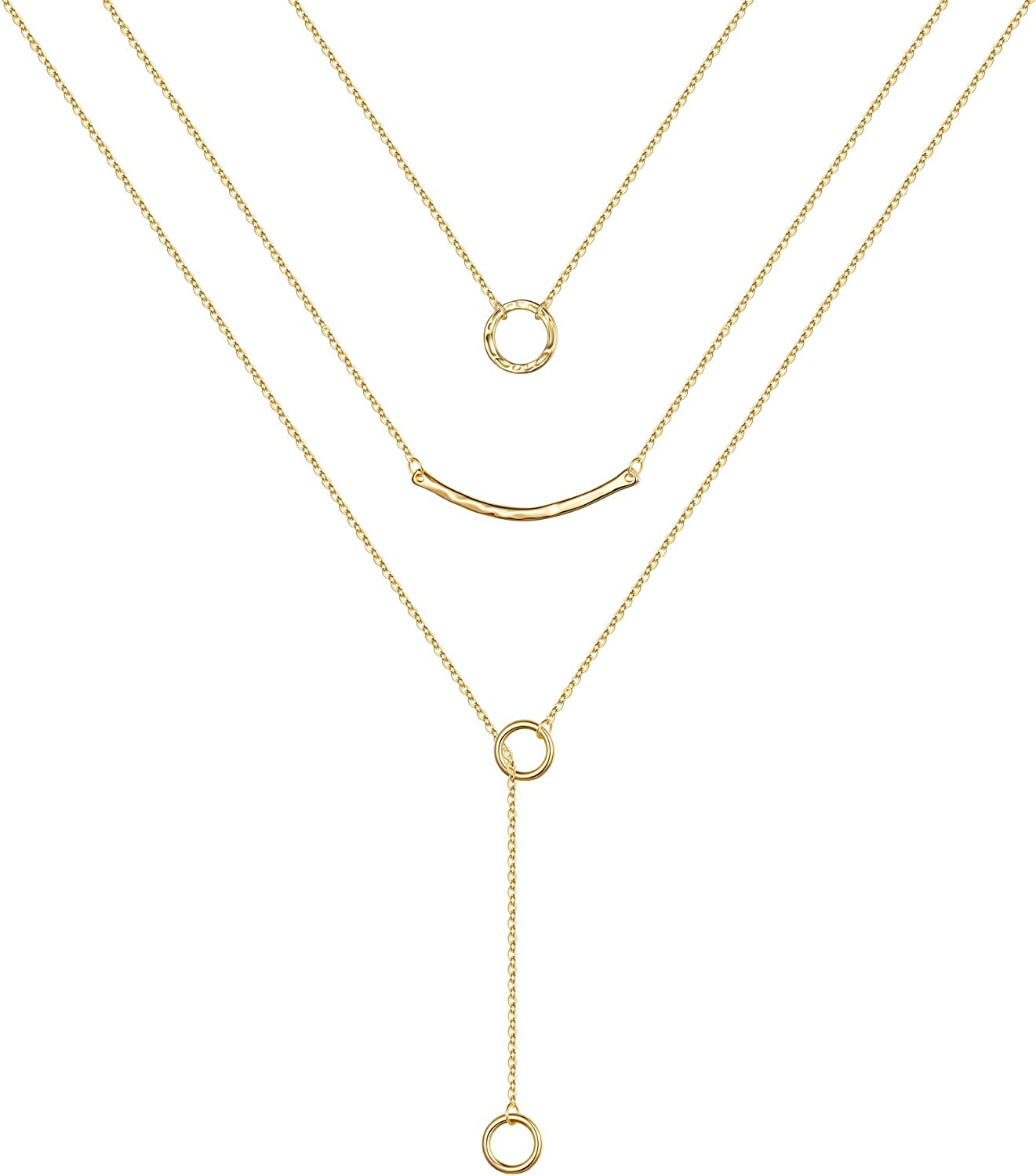 Turandoss Gold Layered Necklaces for Women - 14K Gold Plated Handmade Multilayer Bar Pearls Coin Disc Moon Butterfly Medallion Adjustable Dainty Layered Choker Necklaces for Women Jewelry