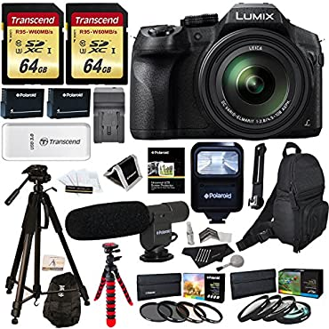 Panasonic LUMIX DMC FZ300 4K Point and Shoot Camera with Leica DC Lens 24X Zoom + Polaroid Accessories + 2 64GB + 72 & 12 Tripod + Flash + Bag + 2 Batteries + Charger + 2 Filters + Cleaning Kit +More