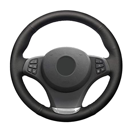 MEWANT Tailor Made Black Sports Leather Steering Wheel Steering Wheel Wrap Tight Fit for BMW X3