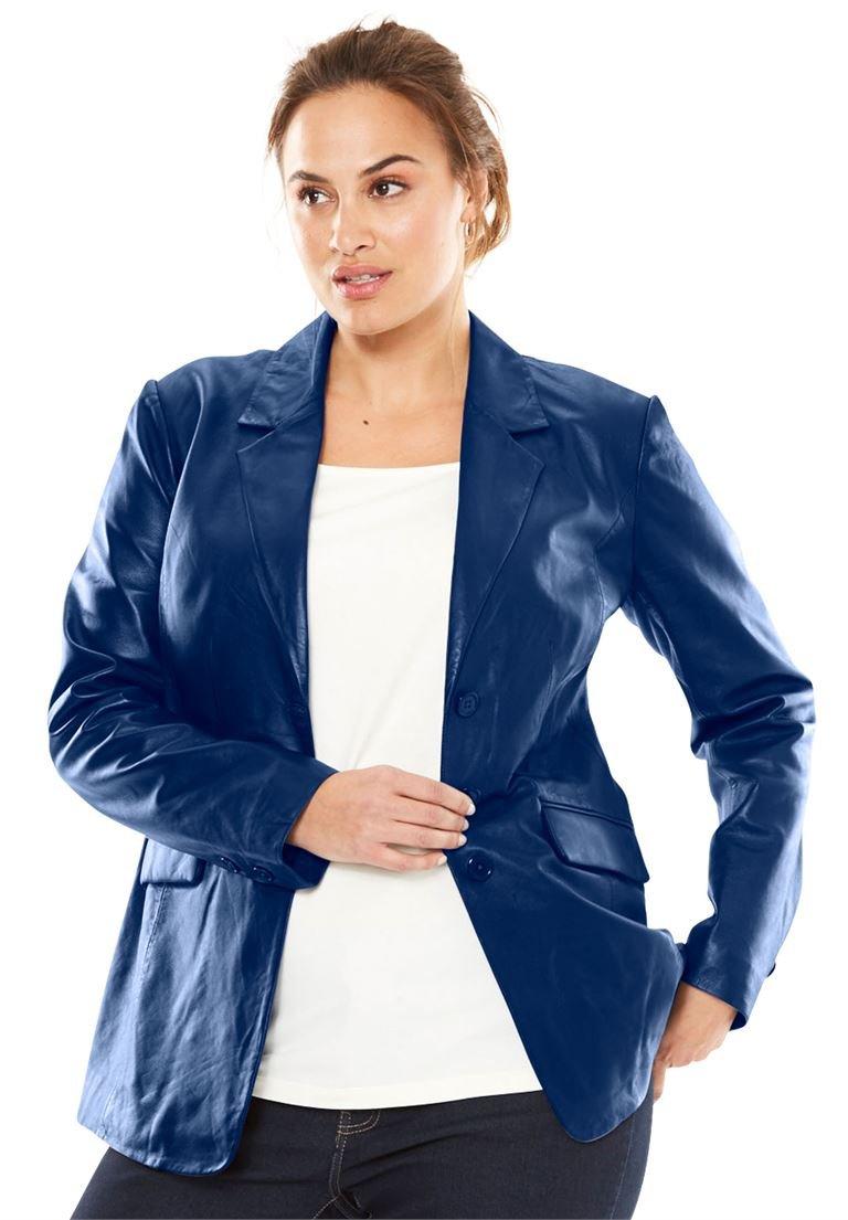 Jessica London Women's Plus Size Nappa Leather Blazer Evening Blue,18 by Jessica London