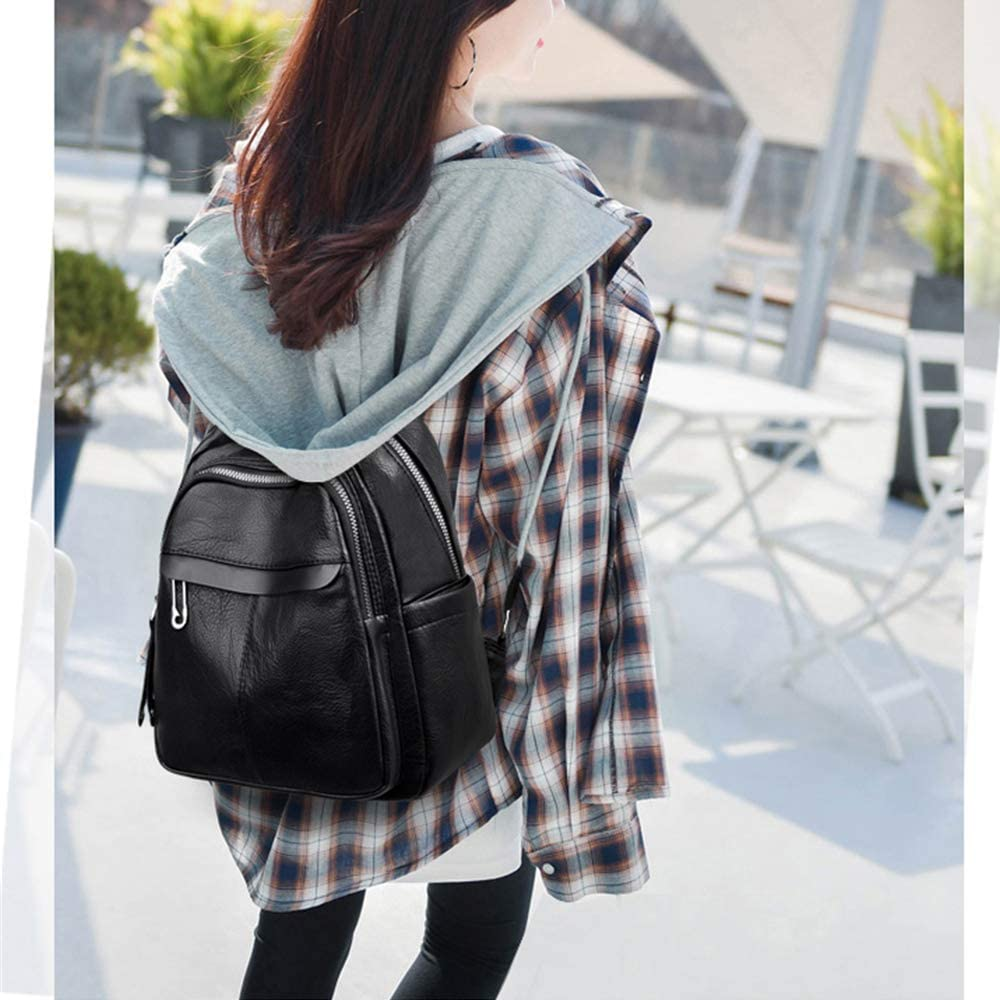 LOOXX Womens Backpack Soft Leather School Bags For Teenager Girls Zipper Shoulder Bags For Women