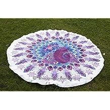 "Indian Peacock Mandala Tapestry Round Beach Towel, Oversize Towel, Beach Blanket, Roundie, Boho Bedding, Cotton Gypsy Wall Hanging, Mandala Circle Beach Towel 50"""