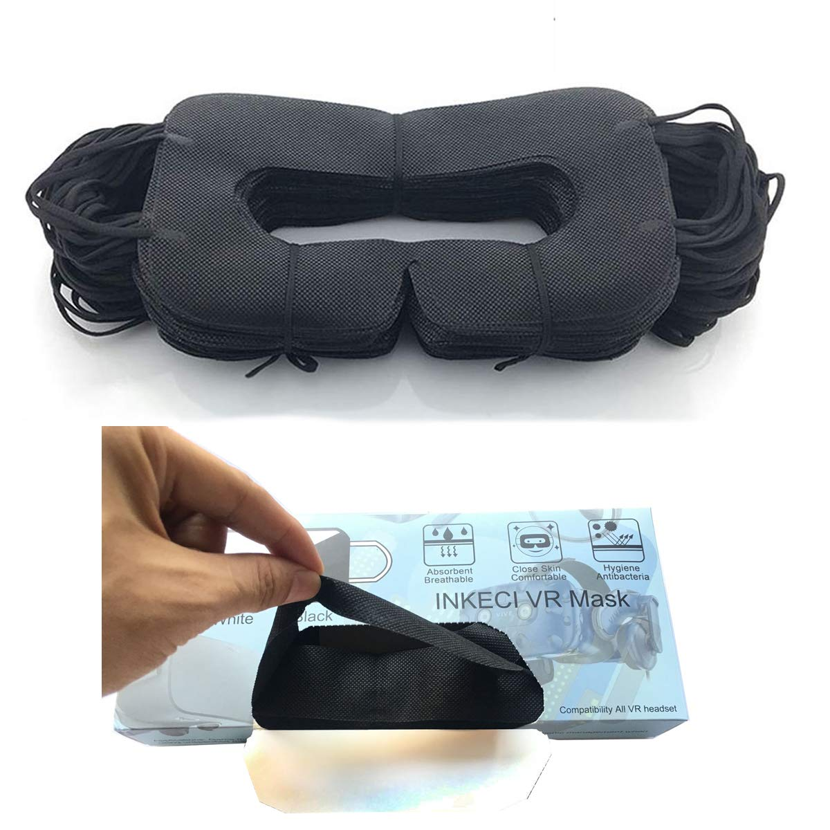 VR Mask Disposable Eye Cover Mask for Oculus/ HTC/Gear VR, Prevent Eye Infections ( Black 100 pcs)