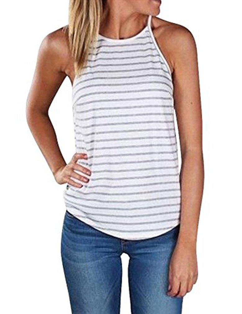 Sherosa Women's Casual Spaghetti Strap Floral Print Tank Tops Camis Shirt (S, Grey & White)