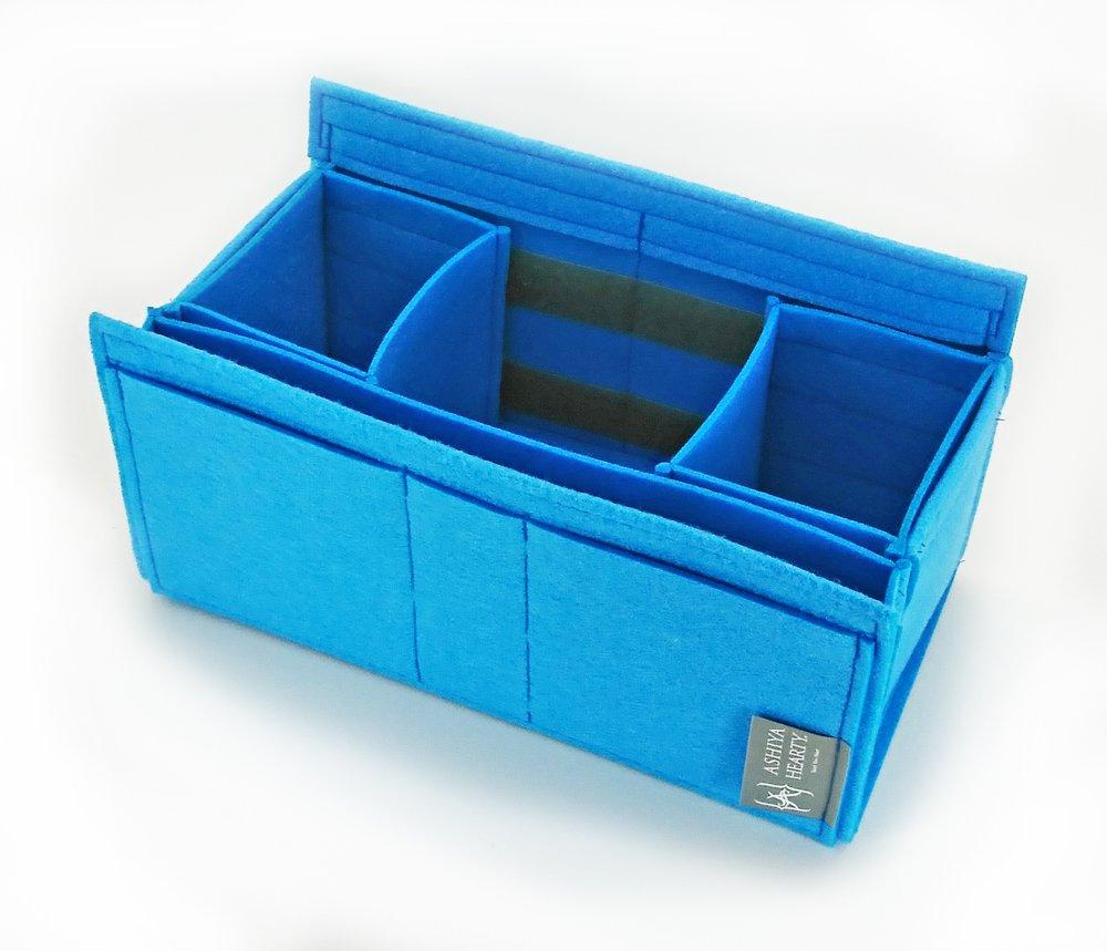 エルメスガーデンパーティPM用フェルトバッグインバッグ 【Ashiya Hearty(芦屋ハーティ)】 W:34cm H16cm D:15cm B06XCS97PT ブルー ブルー