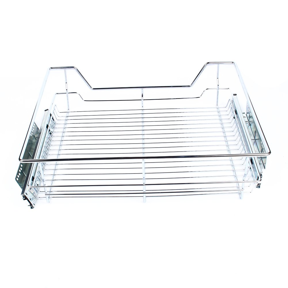 10.4 Wide Multiple Sizes Pull Out Cabinet Shelf Chrome Wire Storage Basket Drawer Single Shelf For Your Kitchen Pantry Bathroom Cocoarm Sliding Organizer